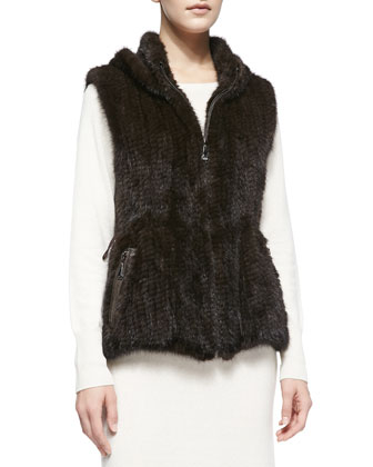 Knitted Mink Fur Zip Vest