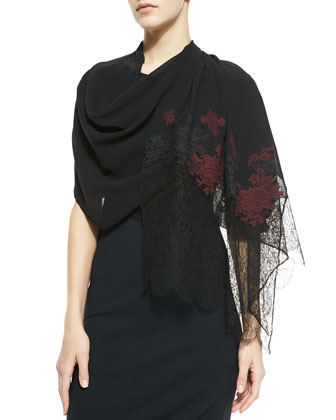 Embroidered Multi-Lace Scarf, Black/Red