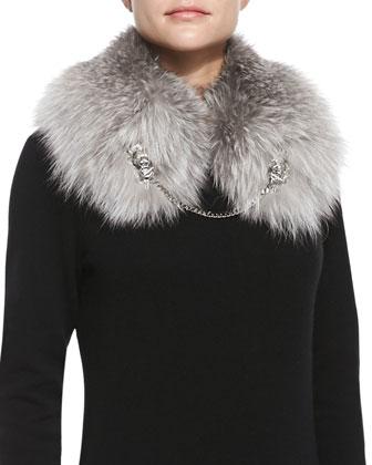 Fox Fur Shawl with Lion Chain