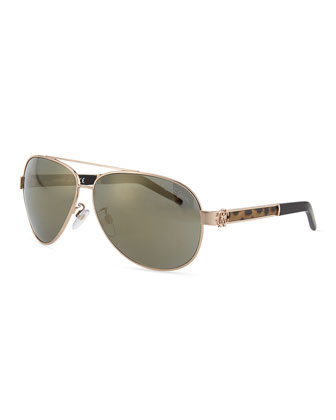 Gorgena Leopard Rose Golden Aviator Sunglasses