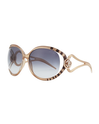 Striped & Crystal Logo-Temple Sunglasses