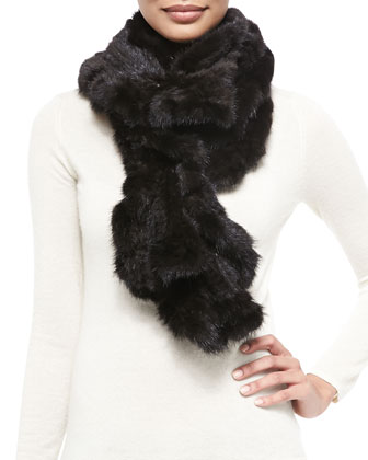 Knit Mink Fur Ruffle Scarf, Black