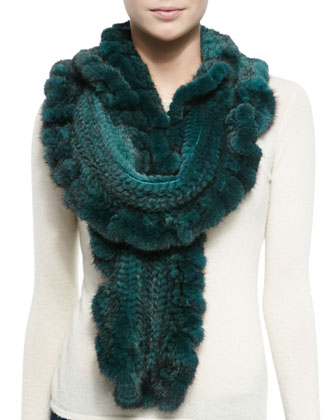 Knit Mink Fur Ruffle Scarf, Emerald