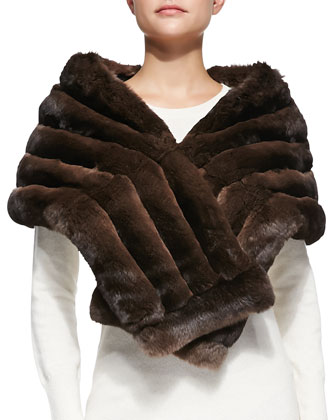 Chinchilla Fur Shawl, Brown