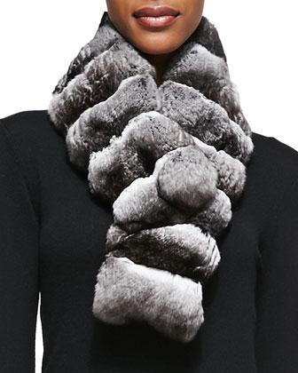 Chinchilla Fur Scarf, Gray