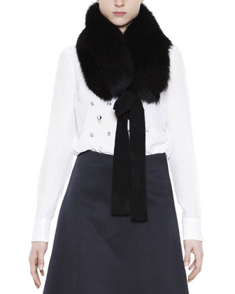 Fox Fur Collar with Cashmere Ribbon