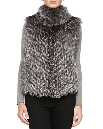 Striped Fox Fur Vest, Gray