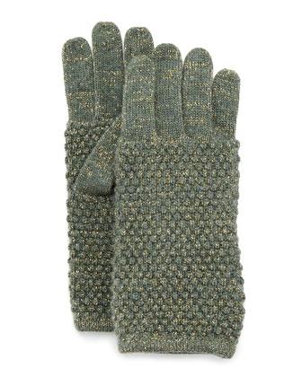 Metallic Knit Gloves, Military/Gold