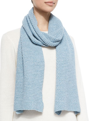 Popcorn-Stitched Shimmer Scarf, Dream Blue/Silver