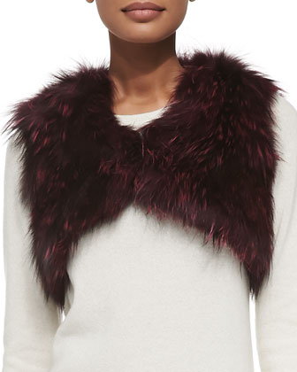 Cropped Fox Fur Vest, Burgundy