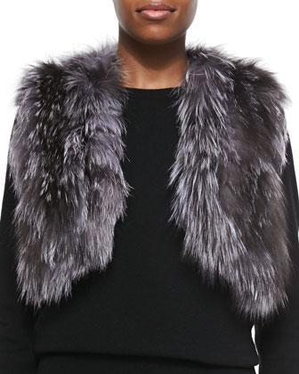 Cropped Fox Fur Vest, Natural
