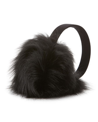 Fox Fur Earmuffs, Black