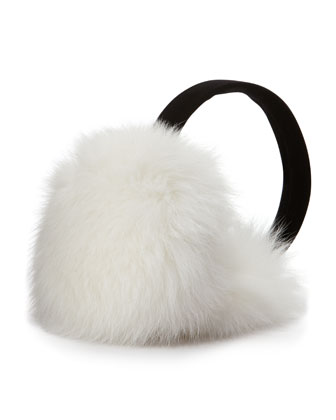 Fox Fur Earmuffs, White