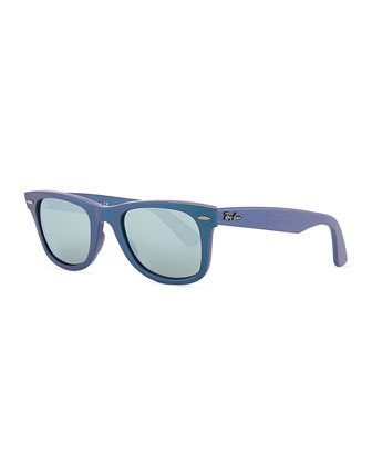Wayfarer Sunglasses with Mirrored Lenses, Iridescent Blue