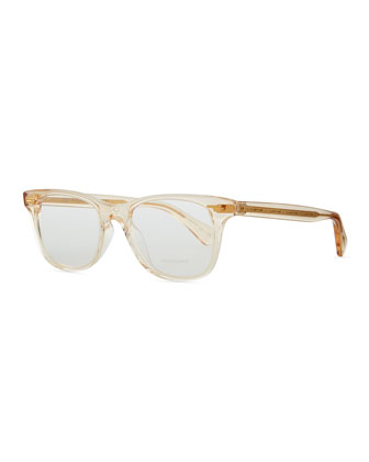 Ollie Rounded Clear Fashion Glasses, Yellow