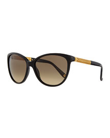 Modified Cat-Eye Sunglasses, Black
