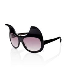 Exaggerated Cat Eye Sunglasses, Black