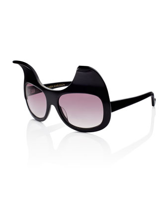 Exaggerated Cat Eye Sunglasses, Black