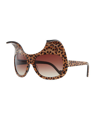 Exaggerated Cat Eye Sunglasses, Leopard