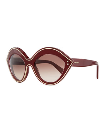Chunky Metal-Edged Cat-Eye Sunglasses, Scarlet