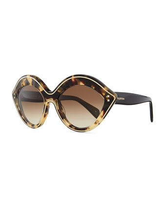 Chunky Metal-Edged Cat-Eye Sunglasses, Havana
