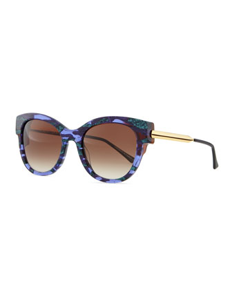 Angely Cat-Eye Sunglasses, Blue