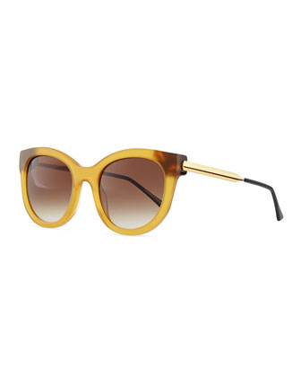 Lively Acetate Sunglasses with Metal Arms, Honey Brown