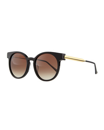 Painty Round Sunglasses with Metal Arms, Black