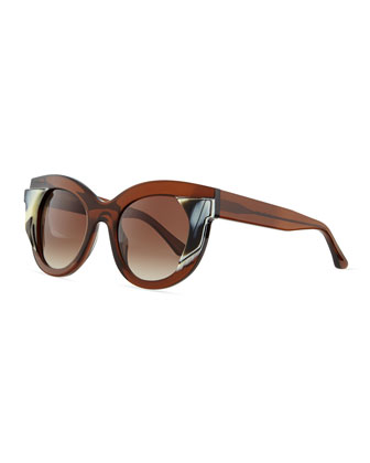 Thick-Framed Pattern Sunglasses, Brown