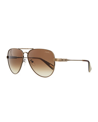 Classic Metal Aviator Sunglasses, Bronze