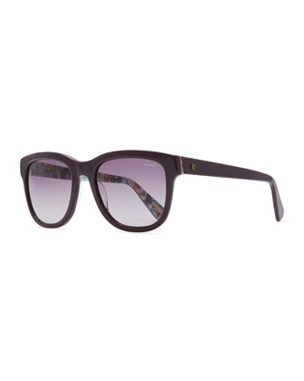 Squared Sunglasses with Printed Lining, Burgundy