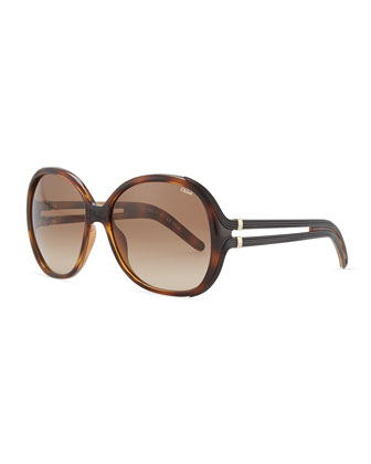 Acetate Square Sunglasses, Light Havana