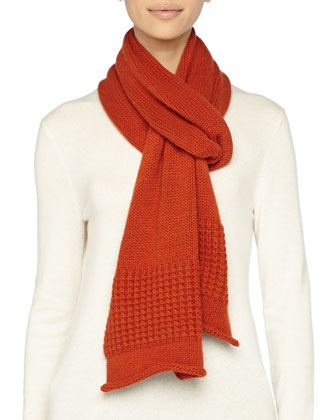 Mixed-Knit Cashmere-Blend Scarf, Rust