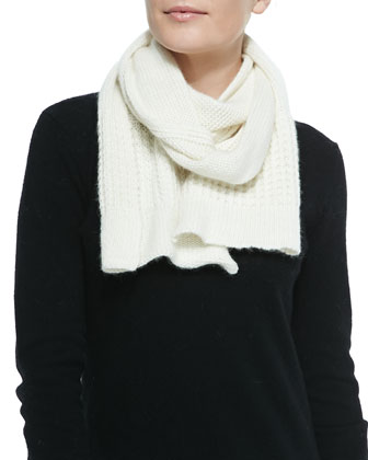 Mixed-Knit Wool-Blend Scarf, White