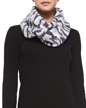 Animal-Striped Knit Infinity Scarf, Slate/Silver