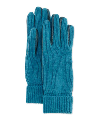 Leather-Trim Knit Gloves