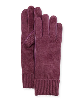 Leather-Trim Knit Gloves, Purple