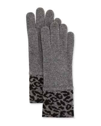 Leopard-Print Soft Knit Gloves, Gray/Black