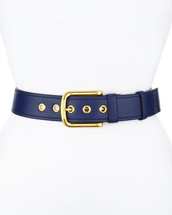 Calfskin Leather Belt, Dark Blue (Inchiostro)