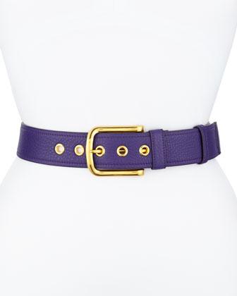 Calfskin Leather Belt, Violet (Viola)