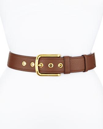 Calfskin Leather Belt, Brown (Marrone)