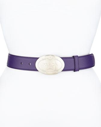 Saffiano Oval Logo Belt, Violet (Viola)