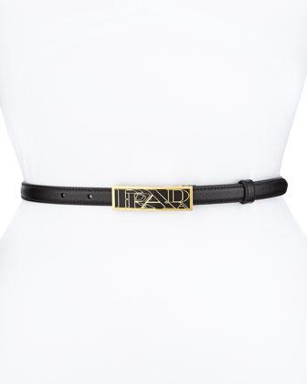 Saffiano Graphic-Logo Thin Belt, Black (Nero)