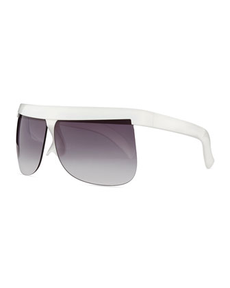 Plastic Wraparound Sunglasses, White