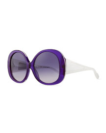 Plastic Oval Sunglasses, Violet/White