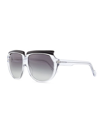 Plastic Sunglasses with Curved Brow, Clear/Black