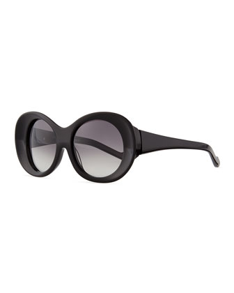 Thick Oval Sunglasses, Black
