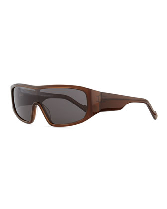 Plastic Shield Sunglasses, Brown