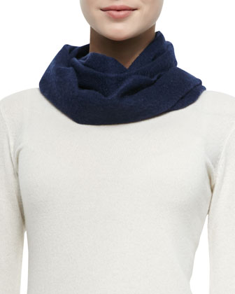 Small Cashmere Throatwarmer Scarf, French Navy