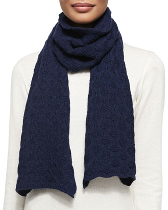 Cashmere Lace-Knit Scarf, French Navy